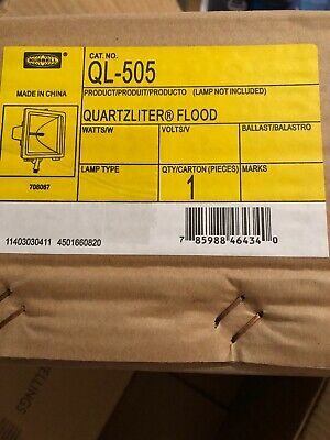 Hubbell Lighting QL-505 Quartzliter Flood Light, Gray 300/500 Watt NEW Sealed Bx
