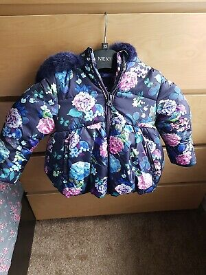 Marks And Spencer Girls Floral Winter Coat warm velour lined puffa 1- 1.5 Years