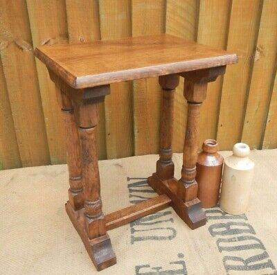 Antique Solid  Oak Gothic~Arts & Crafts Style Stool~Small Wine Table~Lamp Table