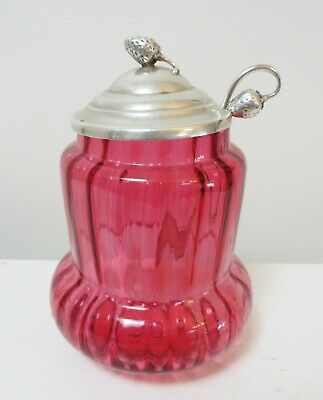 Vintage Sterling Figural Strawberry Preserves Spoon + Lid + Cranberry Glass