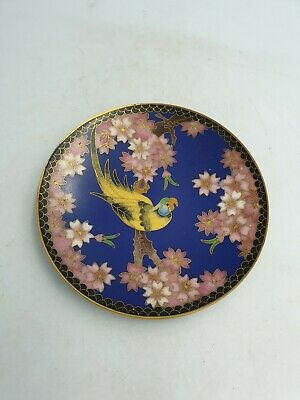 Chinese Cloisonne Enamel Small Shallow Dish Plate Yellow Exotic Bird Floral Moti