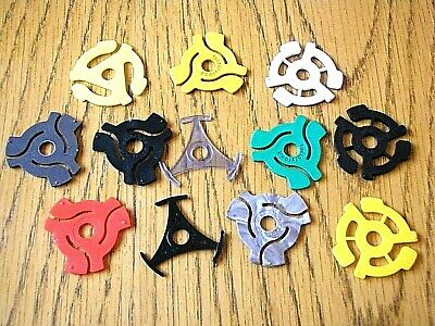 12 X 45 Rpm Various Coloured Record Adapters / Centres / Spindles