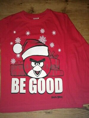 Duck & Dodge ANGRY BIRDS Christmas long sleeve red top/ tshirt, age 9 EXC. CON.