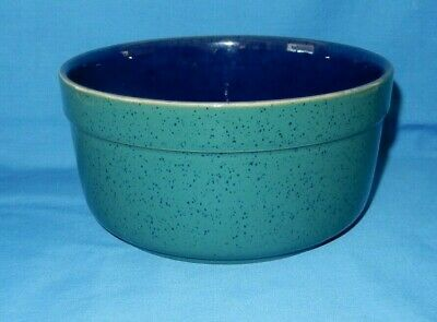 "Denby Teal & Cobalt Blue 8"" Serving Salad Side Dish Bowl Harlequin Foot Wear"
