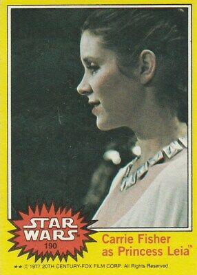 1977 Topps Star Wars Yellow #190 Carrie Fisher as Princess Leia FREE SHIPPING