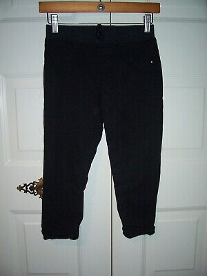 Total Girl girl's black cropped pants small cuff size 10-12