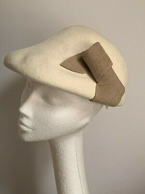 white cream ladies Felt beret Hat pillbox Wedding Ladies Day Ascot races winter