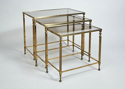 French 1950s Brass and Glass Nest of Tables