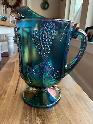 Vintage Indiana Glass Large Footed Pitcher HARVEST Pattern Iridescent Blue 10""