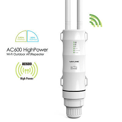 AC600 Wifi Outdoor Repeater 2.4G & 5G 2*Antennas for Signal Booster 500m AP PoE