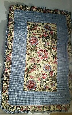 """Handmade baby,toddler,  Shabby Quilt Blue Gingham yellow floral pink 40""""x60"""""""