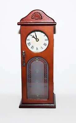 Wood Jewelry Box Clock with 4 Drawers Grandfather Clock Shape 4 Drawers