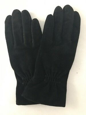 Fownes Black Gloves Women's Size Small Suede Lined Warm Winter