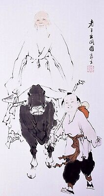 100% ORIGINAL ASIAN FAMOUS FINE ART CHINESE WATERCOLOR PAINTING-Laozi father&Boy
