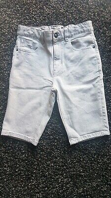 Next Boys Grey Skinny Slim Denim Shorts Waist Adjusters Age 13 Years