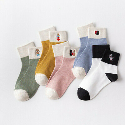 Women Girls Fashion Cat Embroidery Cotton Middle Tube Socks Stockings Fashion