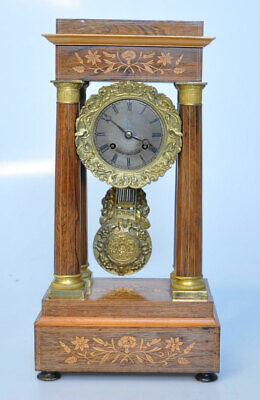 Antique French Empire Column Clock Portico Marquetry Gilt Signed On Dial