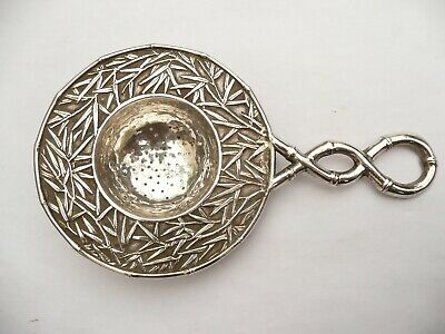 Fab Rare Chinese Export Antique Solid Silver Bamboo Tea Strainer 67 Grams C1900
