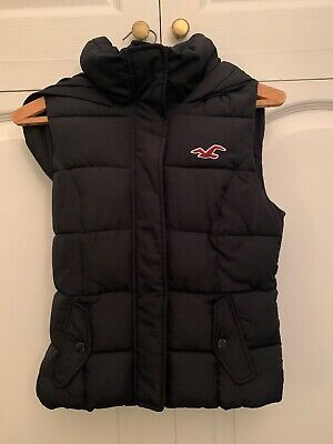 HOLLISTER Navy Blue Hooded Gilet Body Warmer In Excellent Condition Sz XS