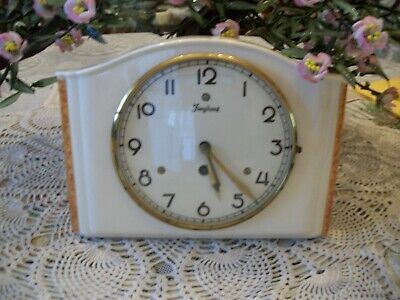 Vintage 1939 Art Deco style  Ceramic Kitchen Wall clock JUNGHANS Made in Germany