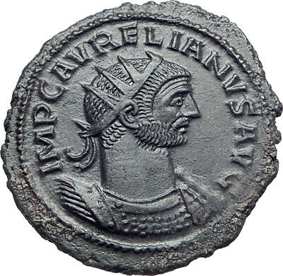 Aurelian  received wreath  from female 272AD Authentic Ancient Roman Coin i44452