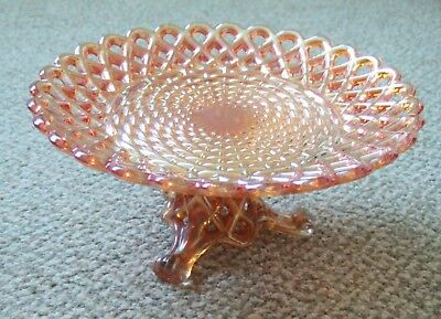 Rare & Stunning Sowerby Wickerwork Carnival Glass Plate And Stand Marigold