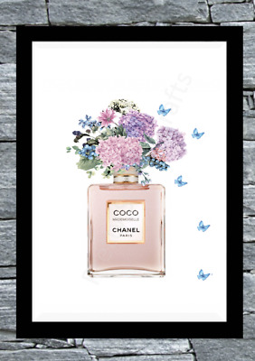 Coco chanel Rose Gold wall print art home decor perfume picture poster UK Gift