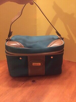 Jaguar Green and Brown Train Case Carry On Luggage Cosmetic Overnight Bag