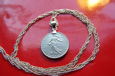 "Classic French Maiden 1/2 Franc Pendant on a 28"" 925 Sterling Silver Wavy Chain"