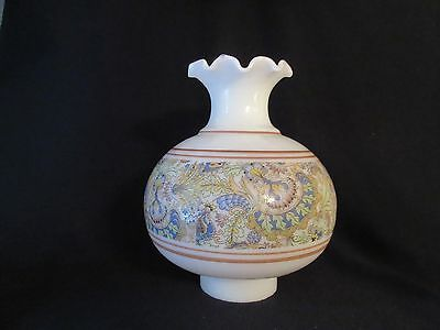 "Opal Milk Glass Chimney Ruffled Shade with Paisley Floral Decoration 3"" Fitter"