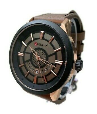 Mens Fashion Watch W/Date Dial Curren M8330 Brown Leather Band Water Resistant
