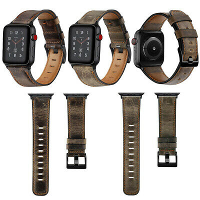Mens Genuine Leather Watch Strap Band For Apple Watch iWatch Series 4/3/2/1 UK