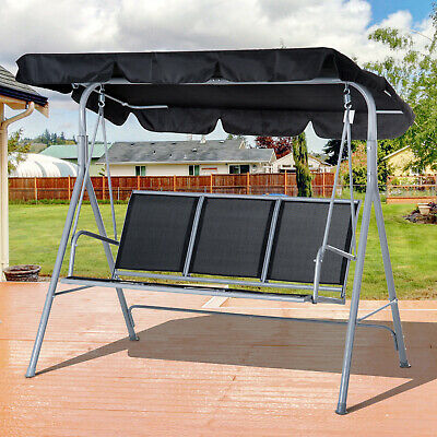 3 Seater Swing Bench Chair Garden Outdoor Lounge Hanging Metal Canopy Black