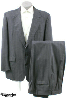 """Mark Shale Gray Striped 2 Btn Wool Suit Mens 46L Pleated Fronts 39"""" W"""