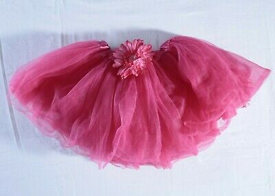 Unbranded pink multi layer tulle skirt tutu flower size 4 stretch elastic waist