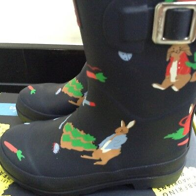 Joules Navy Garden, Rabbits, Potter Boots Wellies. Size 2. New In Box.
