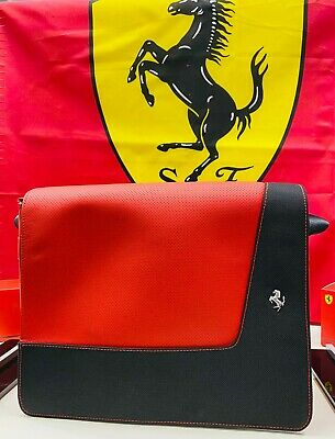 Genuine Ferrari Laptop Bag In Black Technical Fabric & Red Perforated Leather