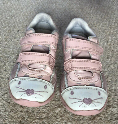 Clarks Girls Mitzy Jive Pink Binkies Bunnies Light Up Trainers - Size Inf 9.5 F