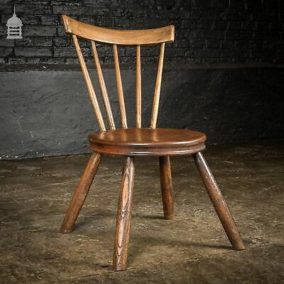 Unusual Small 19th C Elm and Ash Stick Back Chair With Splayed Legs and Penny Se