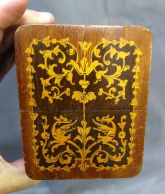 Old Vintage Marquetry Wood Wooden Inlay Inlaid Box Playing Card Case Holder