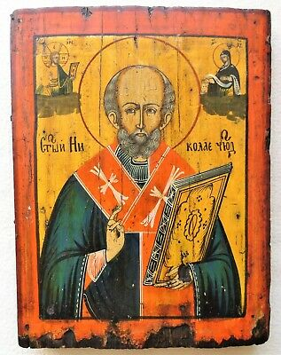 Antique Russian icon of St. Nicholas. 19th century. 28x21,5x2,5 cm.