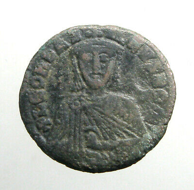 "LEO VI ""THE WISE"" BRONZE AE26 FOLLIS___Byzantine Empire___MACEDONIAN DYNASTY"