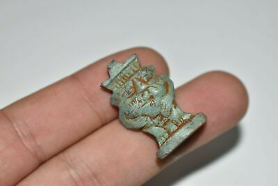 RARE ANCIENT EGYPTIAN blue faience Bes amulet Late Period 672-332