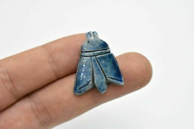 RARE ANCIENT EGYPTIAN glazed blue faience fly amulet 1069–664 BC