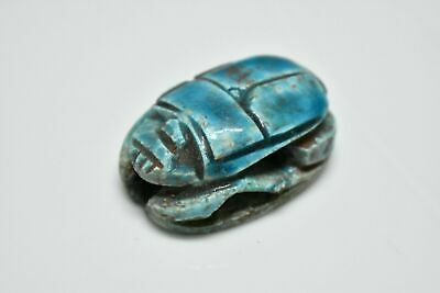 rare ancient Egyptian blue glazed faience scarab Late Period 672-332 BC d