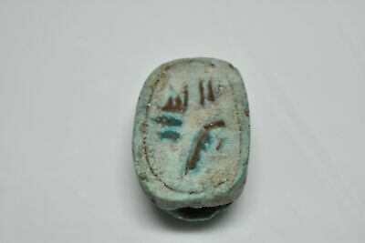 rare ancient Egyptian blue glazed faience scarab Late Period 672-332 BC e