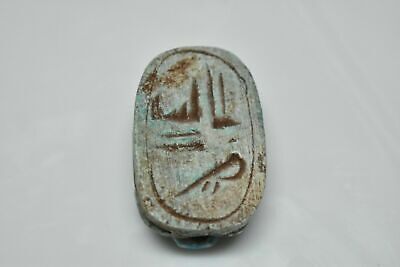 rare ancient Egyptian blue glazed faience scarab Late Period 672-332 BC h