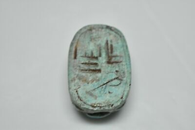 rare ancient Egyptian blue glazed faience scarab Late Period 672-332 BC i