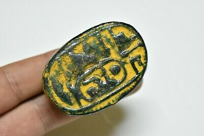 rare ancient Egyptian glazed faience scarab Late Period 672-332 BC
