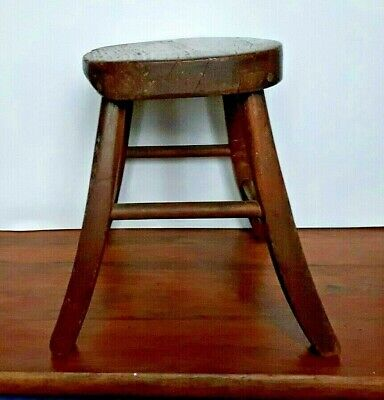 CHILD'S ANTIQUE COUNTRY STOOL (ORIGINAL PATINA; c.19th CENTURY; LIKELY ELM)